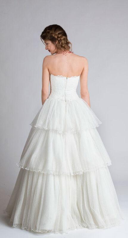 Свадебное платье напрокат Yusupova Couture Винтажное свадебное платье с воланом - фото 2