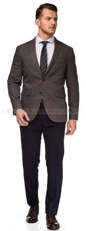 Пиджак, жакет, жилетка мужские Keyman Пиджак мужской бежевый из плотной шерсти в синюю фактуру - фото 1