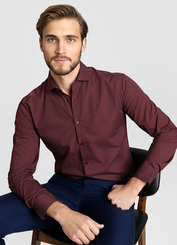 Кофта, рубашка, футболка мужская O'stin Рубашка мужская с микропринтом MS4W11-R9 - фото 1