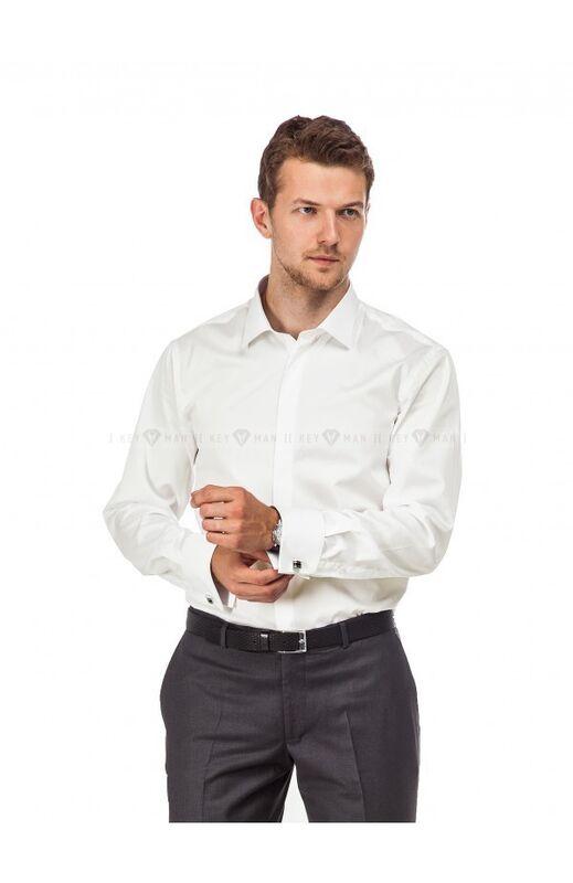Кофта, рубашка, футболка мужская Keyman Рубашка мужская айвори сатин под запонку - фото 1