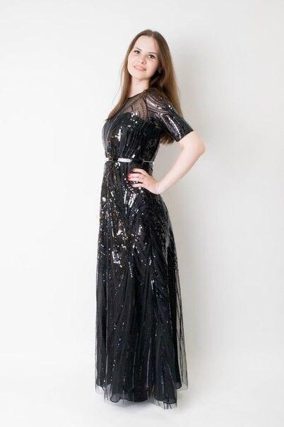 Вечернее платье Shkafpodrugi Вечернее платье с короткими рукавами и пайетками 2122 - фото 1