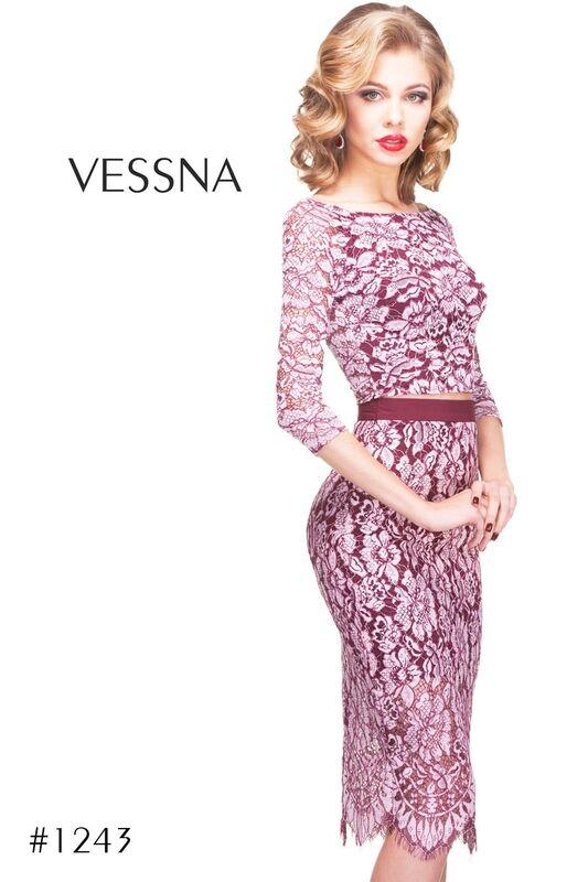 Вечернее платье Vessna Топ с пуговицами и Юбка миди арт.1243 из коллекции VESSNA NEW - фото 1