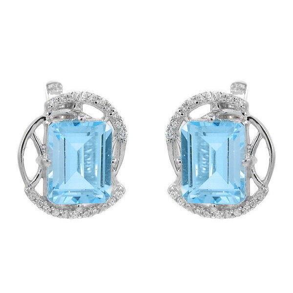 Ювелирный салон Evora Серьги из серебра 925 пробы с голубыми топазами и фианитами 617578 - фото 1