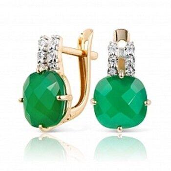 Ювелирный салон Jeweller Karat Серьги золотые с бриллиантами и хризопразами арт. 3226083/9 - фото 1