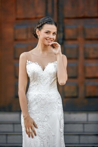 Свадебное платье напрокат Shkafpodrugi Свадебное платье-рыбка с открытой спинкой из итальянского кружева 0022-16 - фото 3