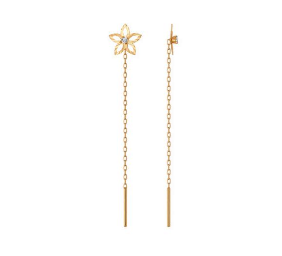 Ювелирный салон Sokolov Серьги-цепочки из золота с алмазной гранью с фианитами 022668 - фото 1