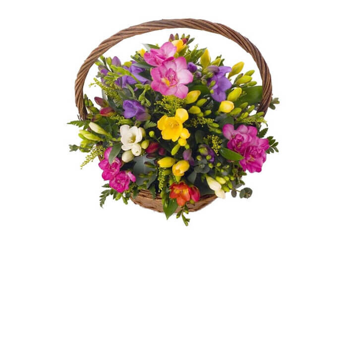 "Магазин цветов Долина цветов Корзина с цветами ""Весенняя радуга"" - фото 1"