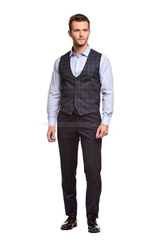 Пиджак, жакет, жилетка мужские Keyman Жилет мужской сине-серый в клетку - фото 2