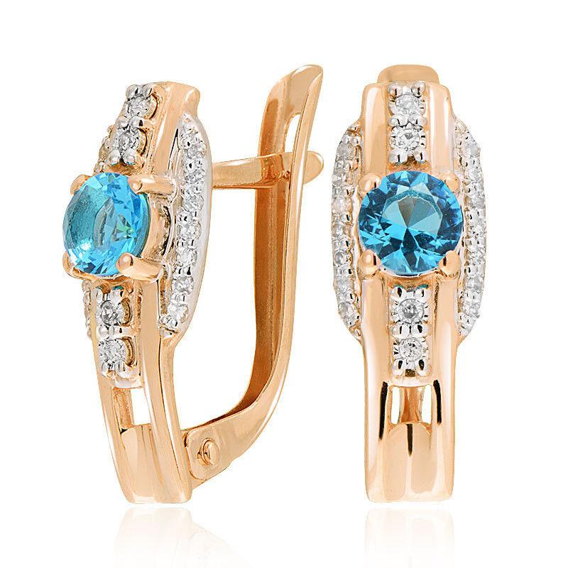 Ювелирный салон Jeweller Karat Серьги золотые с бриллиантами и топазом арт. 3225839/91 - фото 1