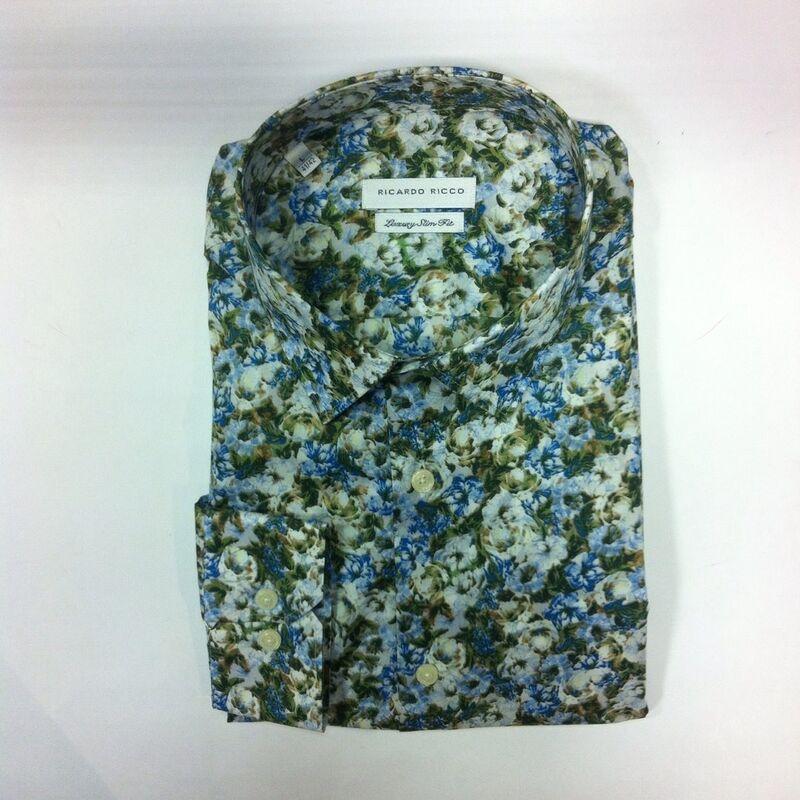 Кофта, рубашка, футболка мужская Ricardo Ricco Рубашка мужская, цвет: принт (Slim Fit) R26 - фото 1