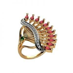 Ювелирный салон jstudio Золотое кольцо c цветными фианитами  10231 - фото 1