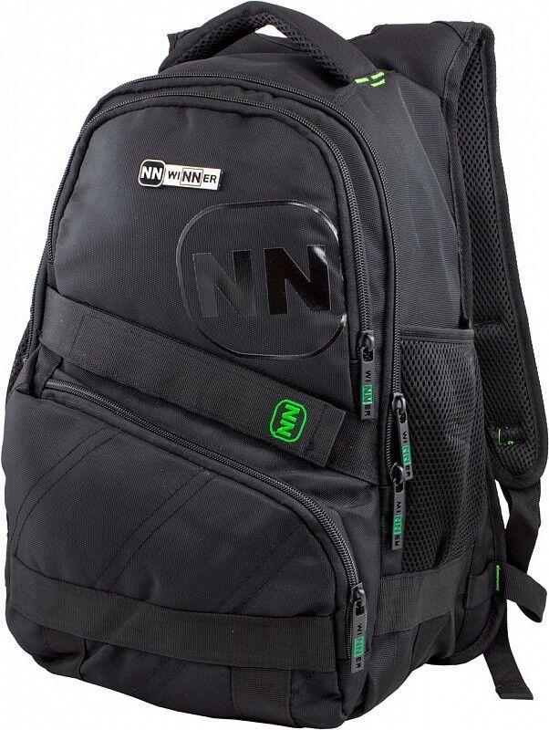 Магазин сумок Winner Рюкзак школьный черно-зеленый 391 - фото 1