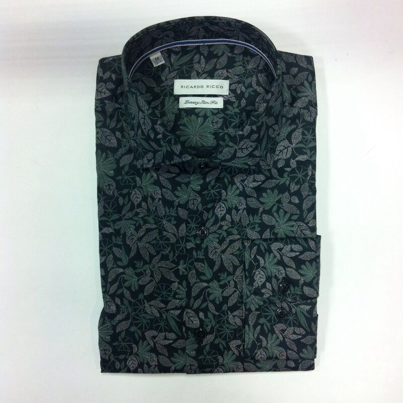 Кофта, рубашка, футболка мужская Ricardo Ricco Рубашка мужская, цвет: принт (Slim Fit) RR22 - фото 1