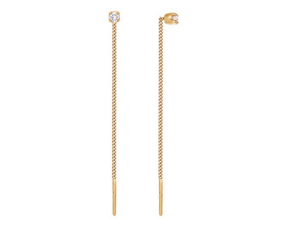 Ювелирный салон Sokolov Серьги-цепочки из золота с фианитами 020609 - фото 1