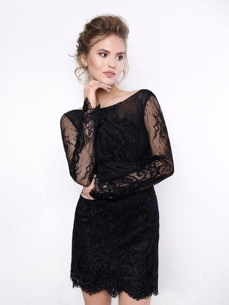 Вечернее платье Shkafpodrugi Кружевное маленькое черное платье с открытой спиной 2129 - фото 1