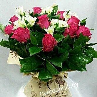 Магазин цветов Цветочник Букет из роз с альстромерией - фото 1