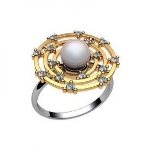 Ювелирный салон jstudio Золотое кольцо с различными вставками 10235 - фото 1