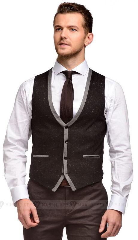 Пиджак, жакет, жилетка мужские Keyman Жилет мужской черно-серый меланж - фото 1