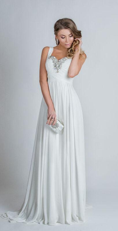Свадебное платье напрокат Yusupova Couture Свадебное платье в греческом стиле, с вышивкой на груди - фото 1