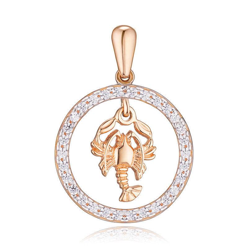 Ювелирный салон Jeweller Karat Подвеска золотая с цирконом арт. 1130110/1 Рак - фото 1
