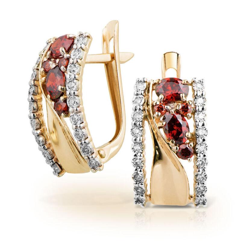 Ювелирный салон Jeweller Karat Серьги золотые с бриллиантами и гранатами арт. 3226086/9 - фото 1
