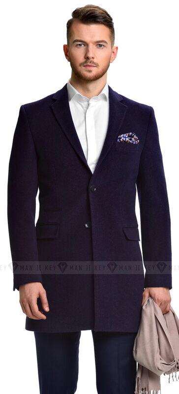 Верхняя одежда мужская Keyman Пальто мужское сине-фиолетовое шерстяное приталенное демисезонное - фото 1