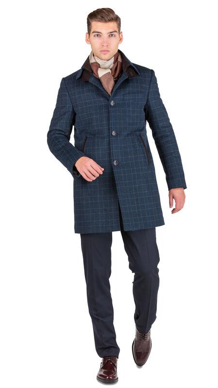 Верхняя одежда мужская HISTORIA Пальто синее утепленное в крупную клетку C.Bll.C.cri002 - фото 2
