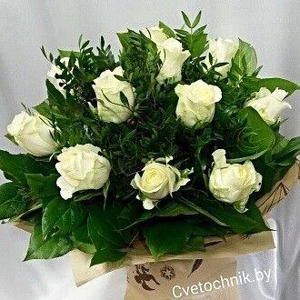 Магазин цветов Цветочник Букет из 11 белых роз - фото 1
