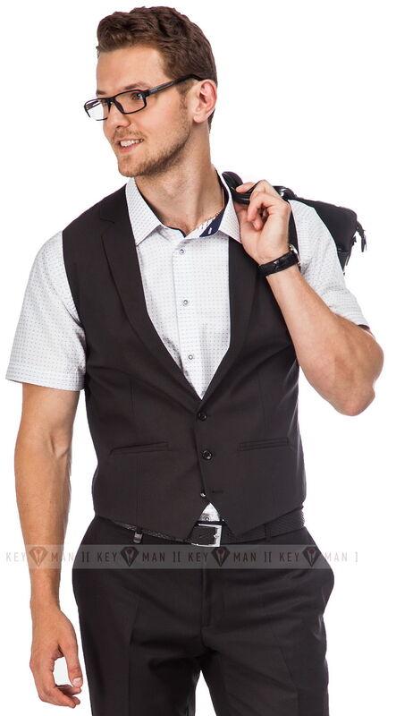 Пиджак, жакет, жилетка мужские Keyman Жилет мужской черный фактурный с лацканами - фото 1