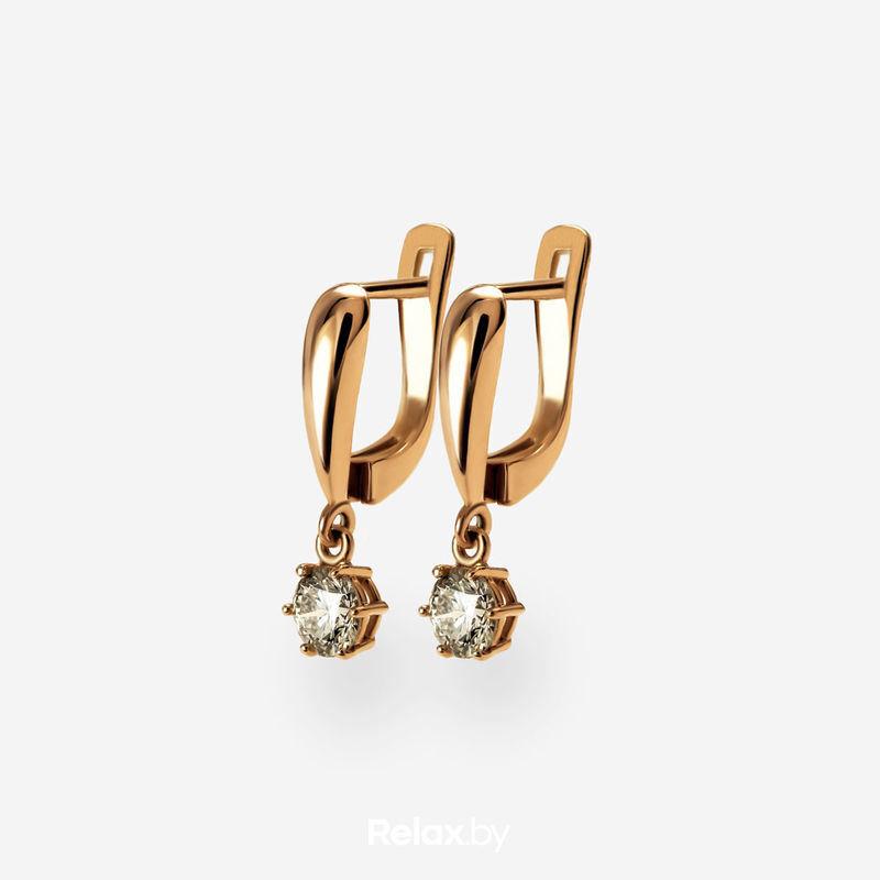 Ювелирный салон Белорусские Бриллианты Серьги из золота со вставкой бриллиант синт. 31010002 - фото 1