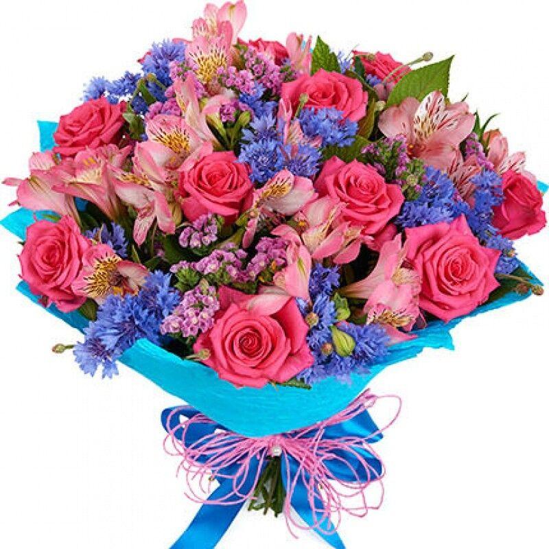 Магазин цветов Florita (Флорита) Букет поздравительный из роз и альстромерий - фото 1