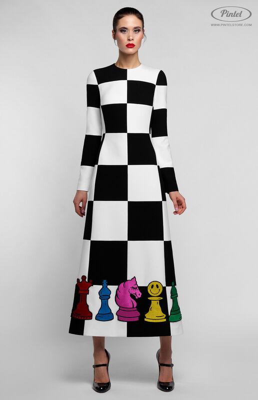 Платье женское Pintel™ Комбинированное чёрно-белое оп-арт миди-платье Finna - фото 2