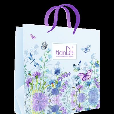 Подарок tianDe Пакет бумажный «Бабочки в цветах» - фото 1