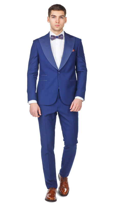 Костюм мужской HISTORIA Смокинг синий с широким лацканом - фото 1