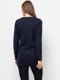 Кофта, блузка, футболка женская Sela Джемпер женский JR-114/1253-7442 темно-синий - фото 2