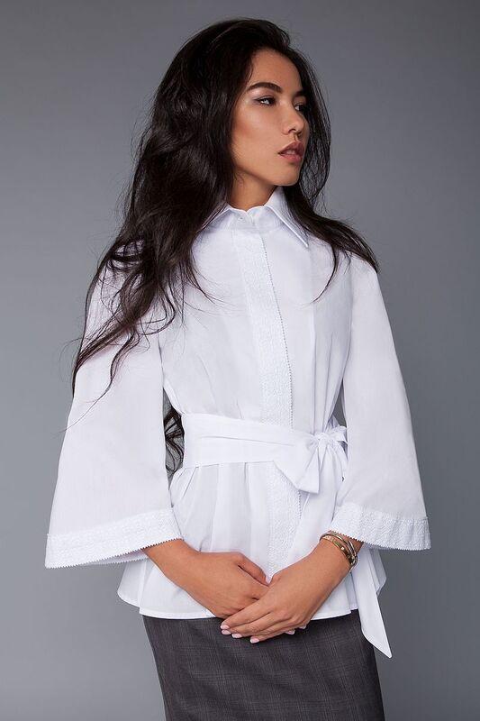 Кофта, блузка, футболка женская SL.IRA Белая блуза с кружевом - фото 1