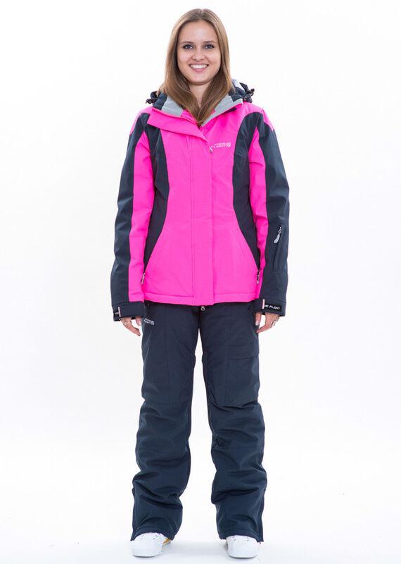 Спортивная одежда Free Flight Женская горнолыжная мембранная куртка розово-черная - фото 1