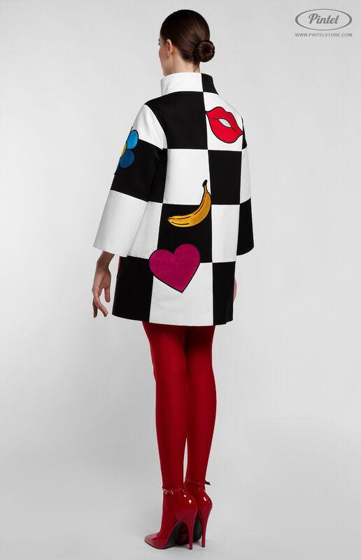 Верхняя одежда женская Pintel™ Комбинированное оп-арт полупальто прямого силуэта Maloü - фото 4