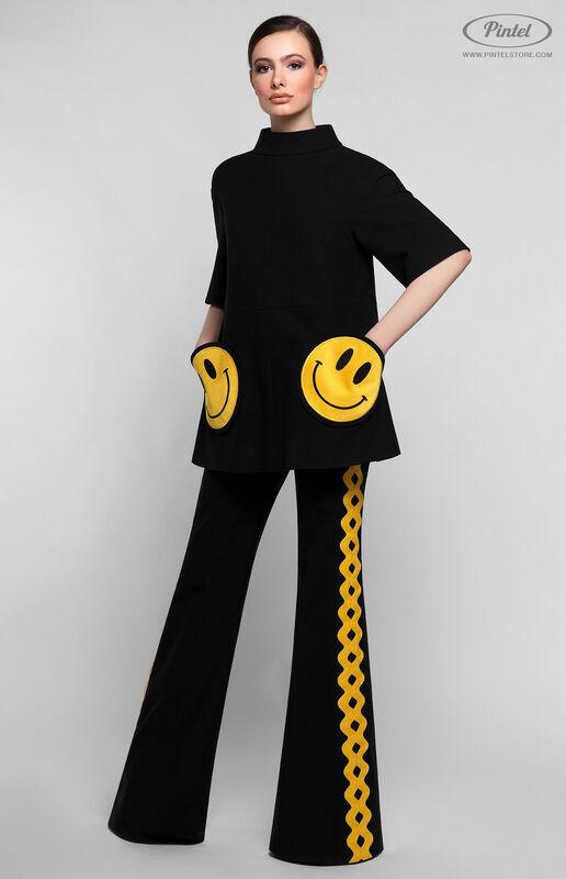 Костюм женский Pintel™ Чёрный костюм из туники и брюк KARISSA - фото 1