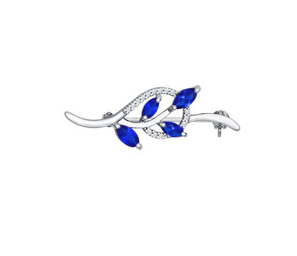 Ювелирный салон Sokolov Брошь из серебра с синими фианитами 94040069 - фото 1