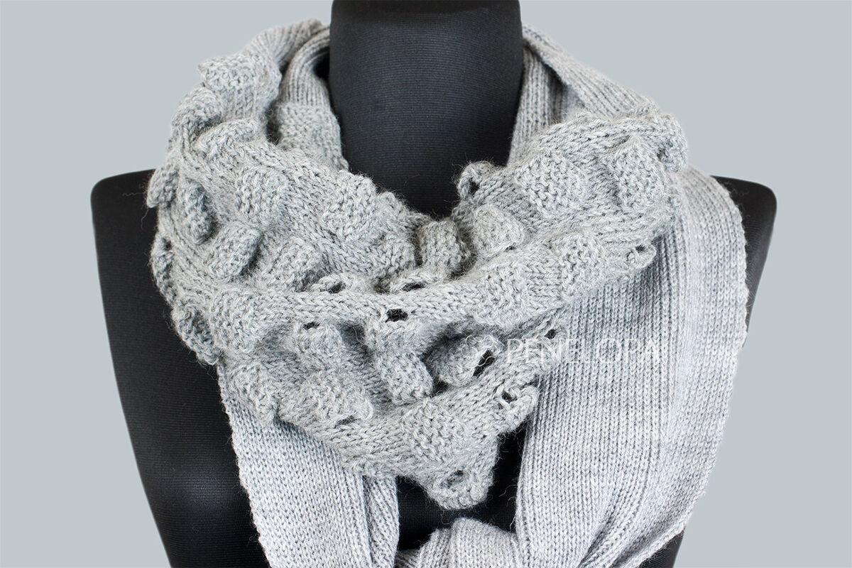 Шарф и платок PENELOPA Длинный серый шарф M16 - фото 2