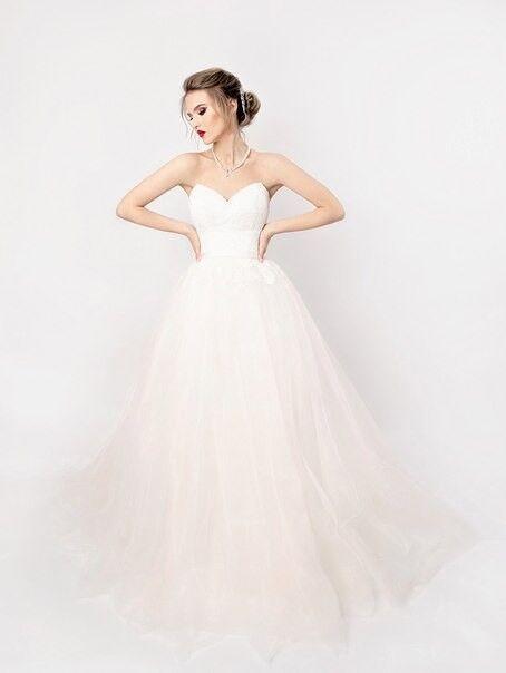 Свадебное платье напрокат Shkafpodrugi Пышное платье свадебное с кружевом на корсете и открытыми плечами 004-16 - фото 3