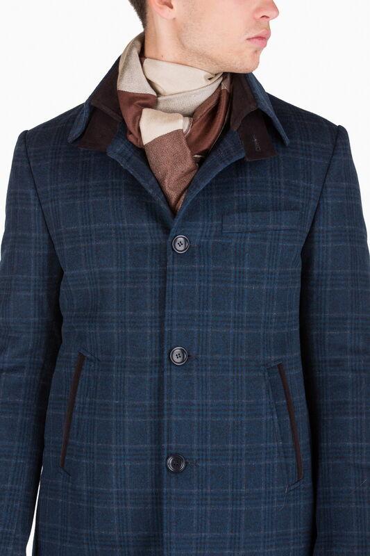 Верхняя одежда мужская HISTORIA Пальто синее утепленное в крупную клетку C.Bll.C.cri002 - фото 1