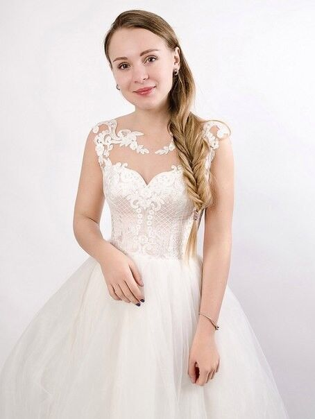 Свадебное платье напрокат Shkafpodrugi Пышное свадебное платье с кружевным корсетом - фото 2