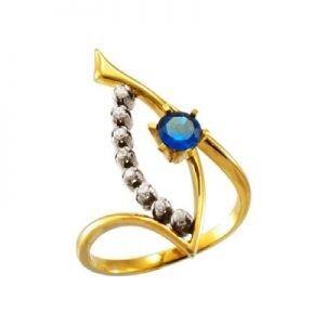 Ювелирный салон jstudio Золотое кольцо с различными фианитами 10261 - фото 1