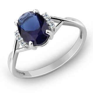 Ювелирный салон Evora Кольцо из серебра 925 пробы с синим и прозрачными фианитами 624934 - фото 1
