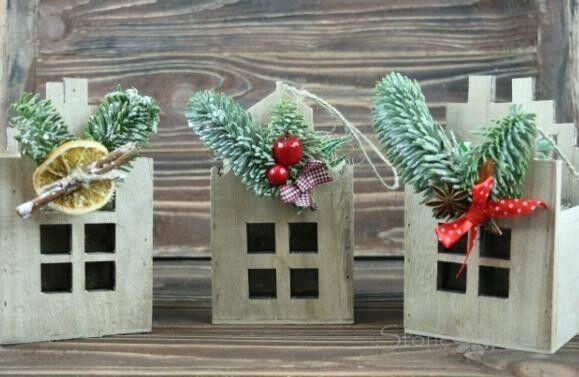 Магазин цветов Stone Rose Новогодние домики с суккулентами - фото 1