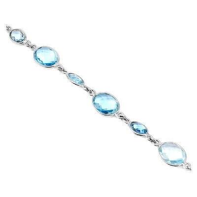 Ювелирный салон Evora Браслет из серебра 925 пробы с голубыми топазами 621427 - фото 1