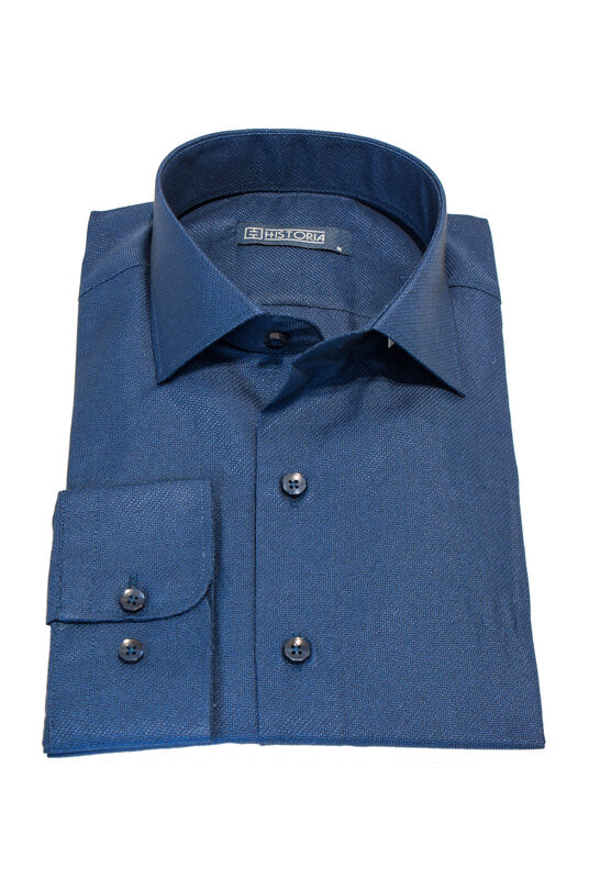 Кофта, рубашка, футболка мужская HISTORIA Рубашка мужская, синяя, фактурный узор - фото 1