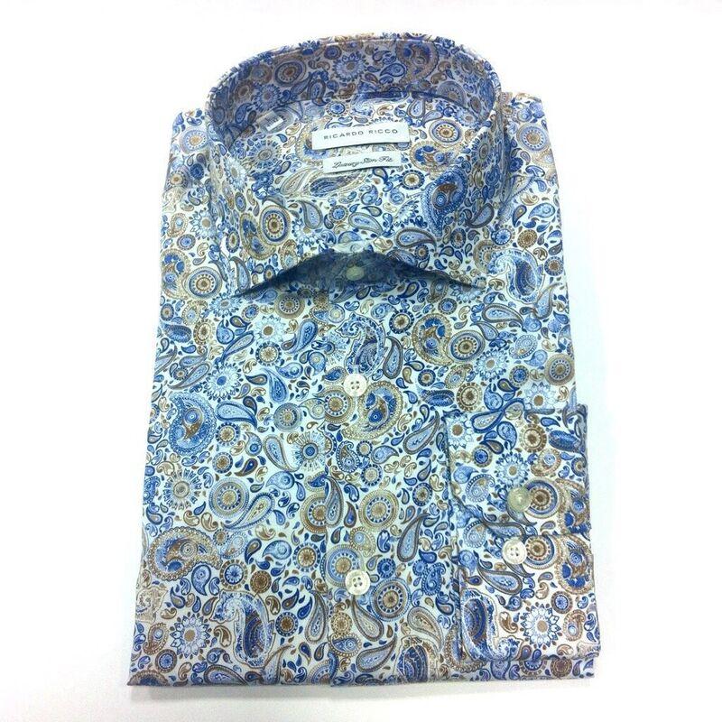 Кофта, рубашка, футболка мужская Ricardo Ricco Рубашка мужская, цвет: принт (Slim Fit) RR4 - фото 1